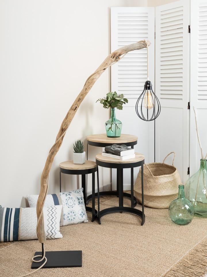 Ambiance nature lampadaire en bois flott avec for Abat jour bois flotte