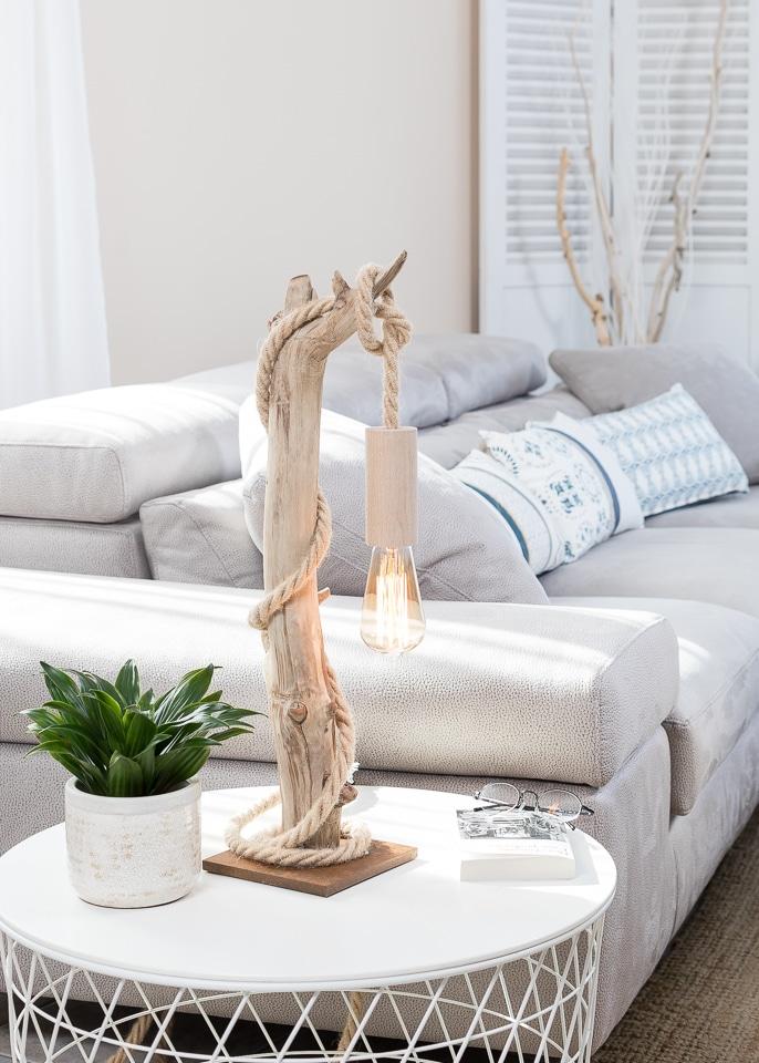 Ambiance nature lampe de table en bois flott et for Lampes en bois flotte