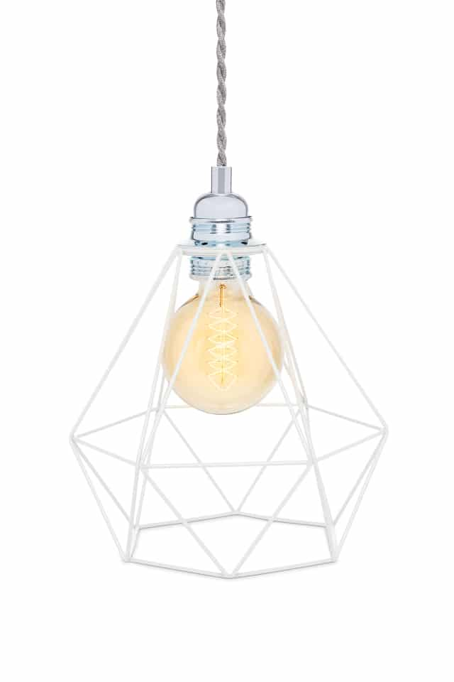 Lampe cage ambiance et nature a poser blanche gris for Lampe ambiance et style