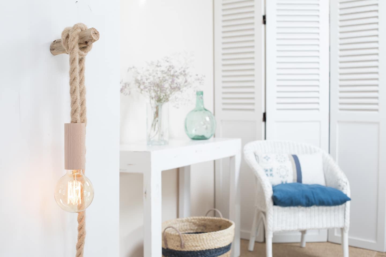 baladeuse corde jute xxl douille en bois naturel. Black Bedroom Furniture Sets. Home Design Ideas
