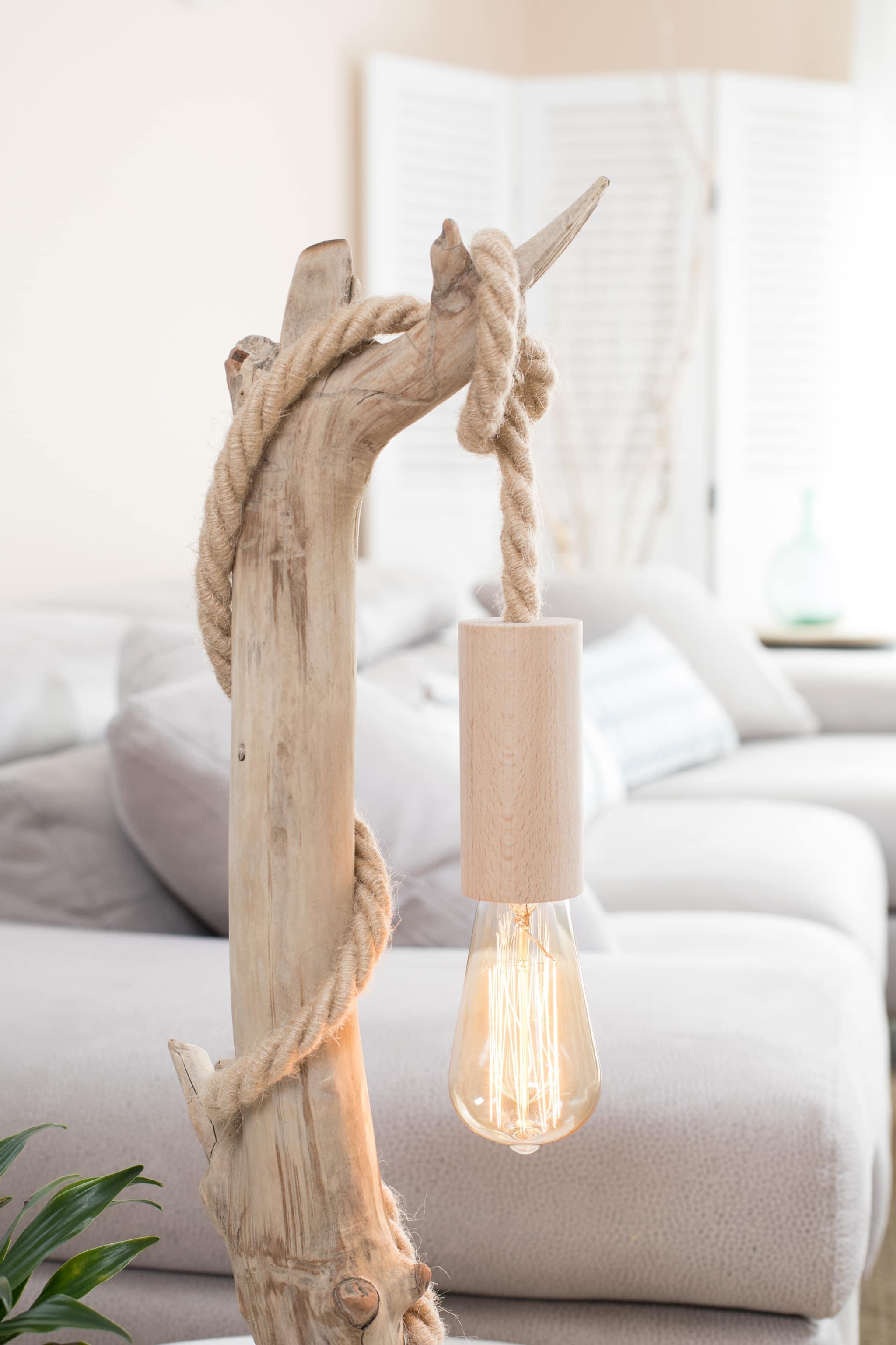 Lampe en bois flotté et ampoule Edison VENDU