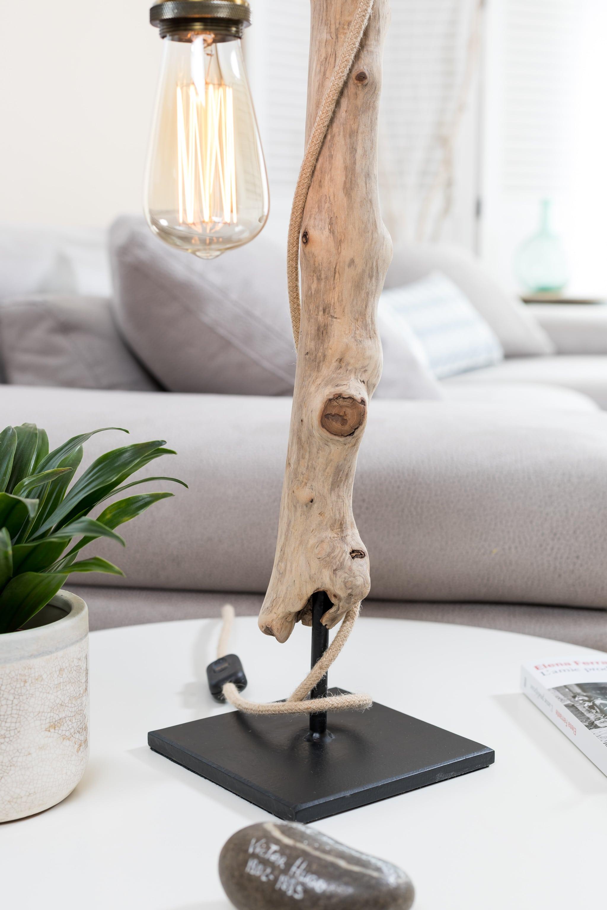 Lampe Bois Flotte Ambiance Et Nature Fil Rond Jute Detail Socle Ambiance Nature