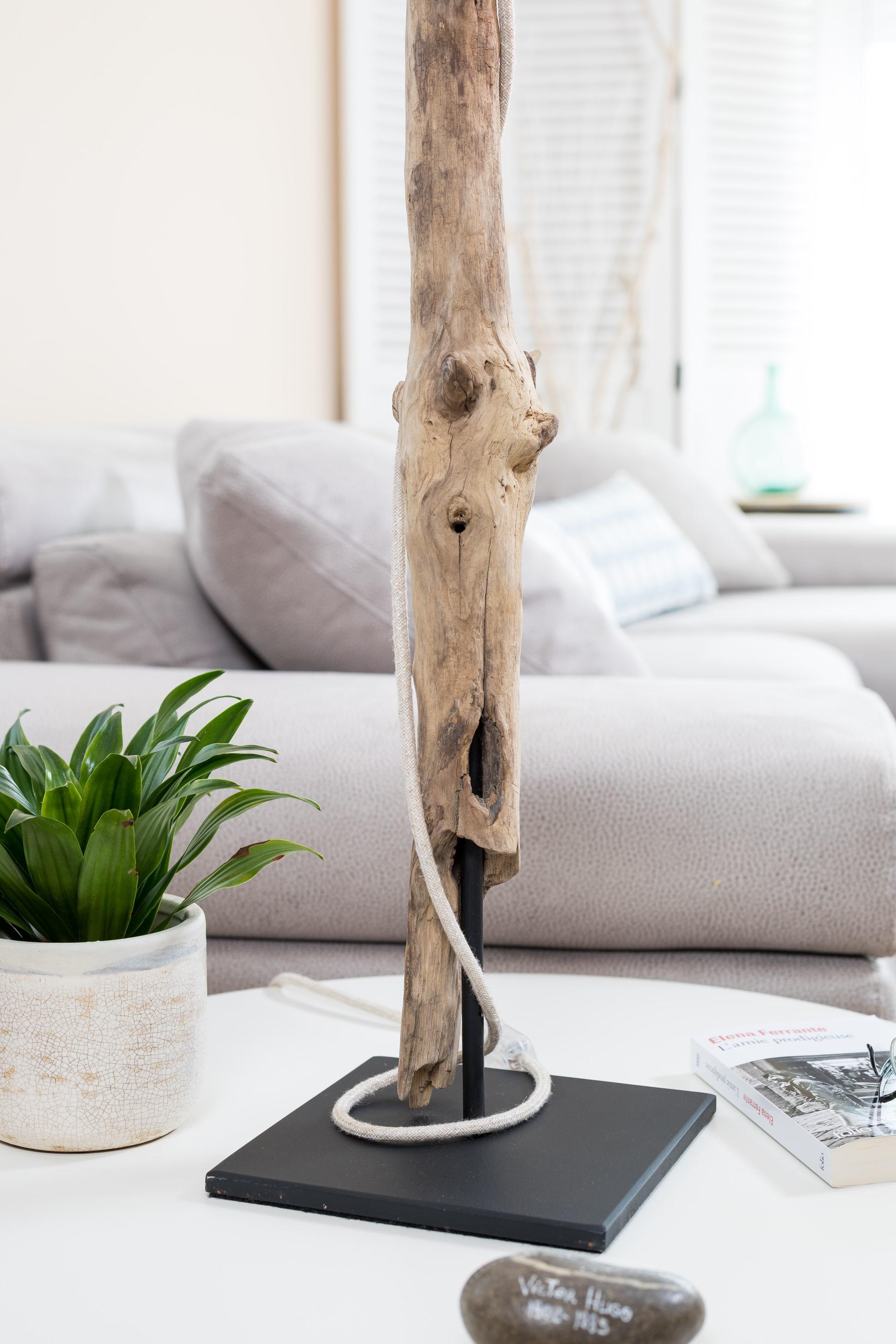 Lampe en bois flotté et ampoule Edison | Ambiance & Nature