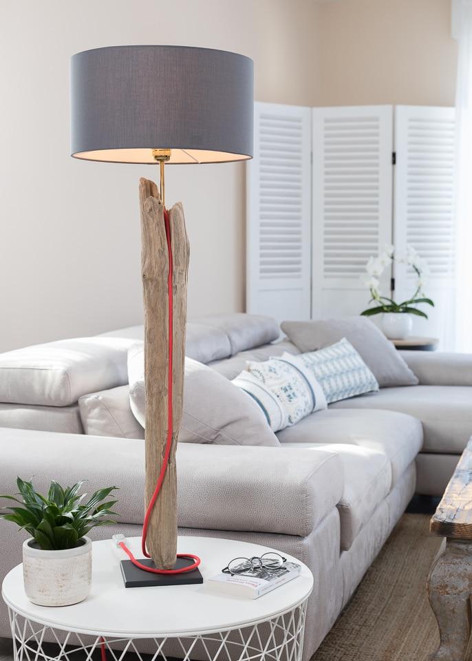 Lampe en bois flotté avec abat-jour   Ambiance & Nature