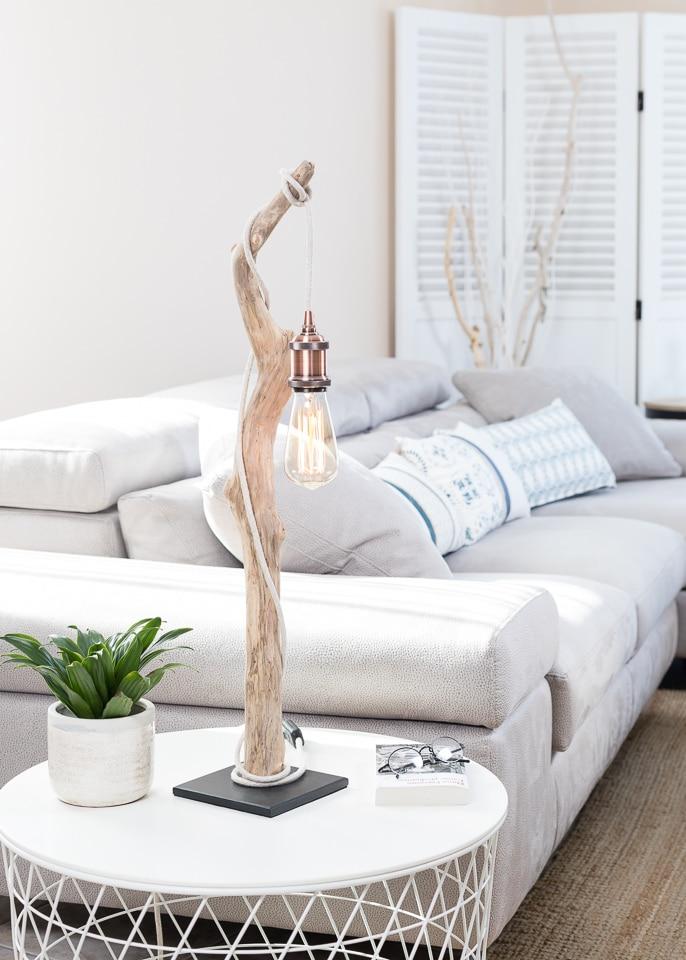 Lampe en bois flotté et ampoule Edison VENDU | Ambiance & Nature