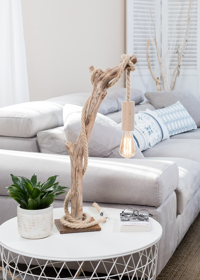 Lampe en bois flott suspension ampoule vendu ambiance - Boutique bois flotte ...