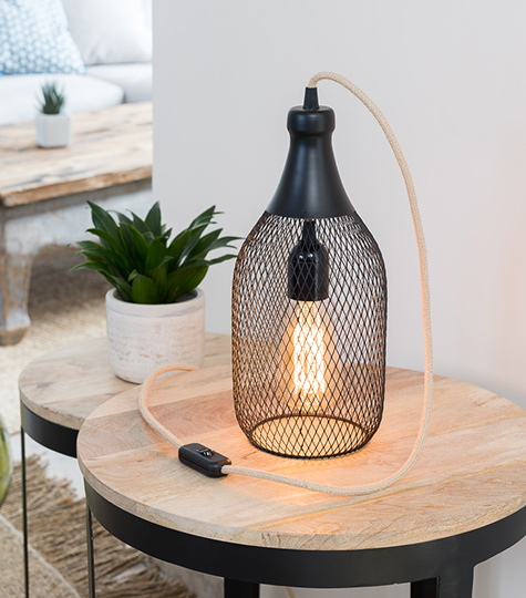 Lampe cage bouteille