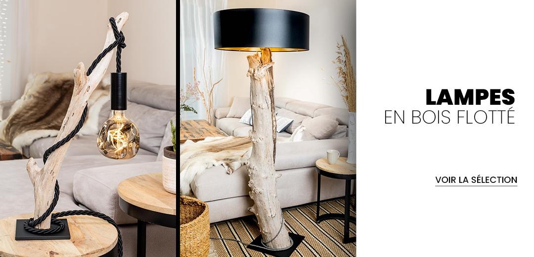 lampes en bois flotté